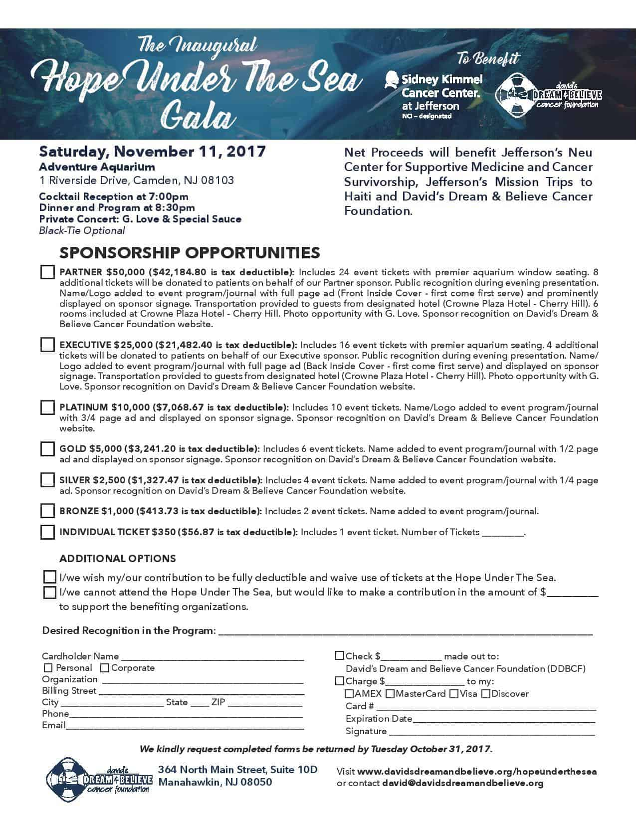 Attend or Sponsor Hope Under the Sea Gala November 11, 2017 at the