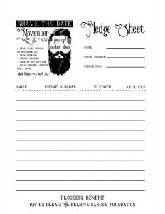 Shave Pledge Sheet